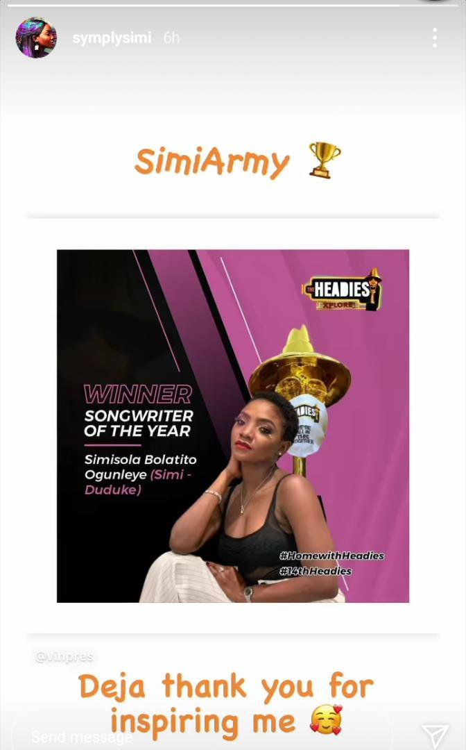 Simi Dedicates Her Headies Award To Daughter, Deja and thank her for the inspiration she gave her